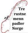 Tre rustne menn padler Norge